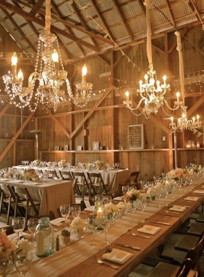crystal chandelier barn wedding kansas city rental